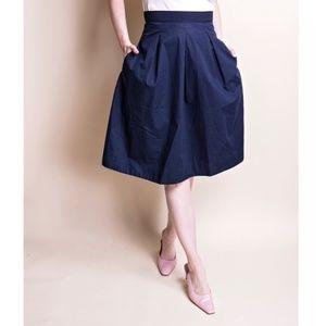 COS Navy Blue Pleated High Waist Minimal Skirt